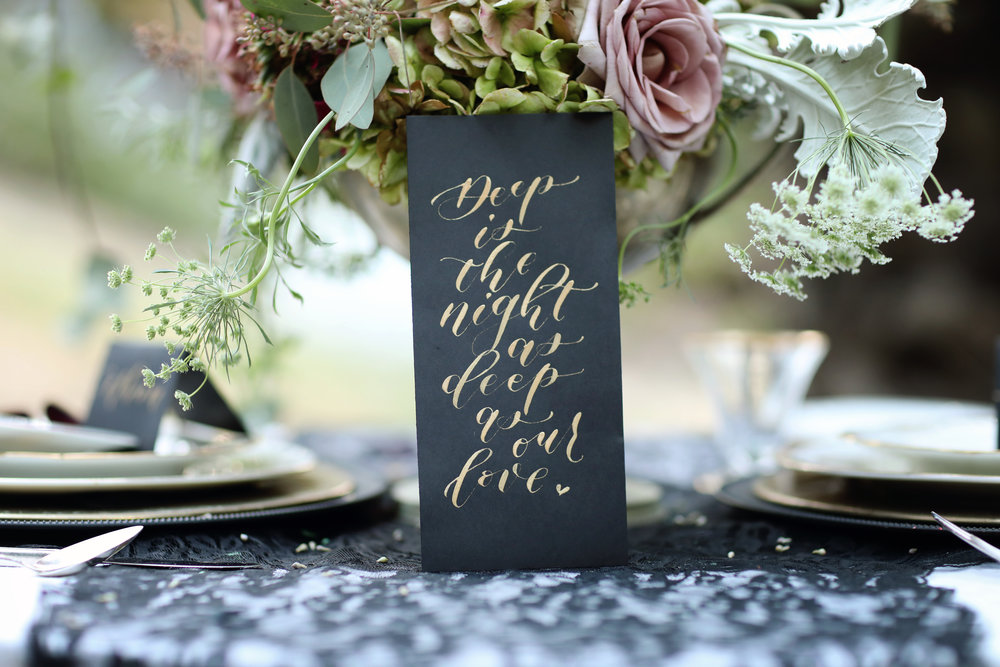 Formal wedding table. Hand written sign on the table. Wedding rentals.