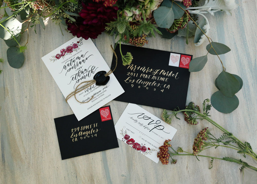 Wedding invitation hand written black and marsala.