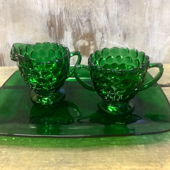 Green Glass Cream and Sugar   Anchor Hocking green sugar and creamer set with tray.