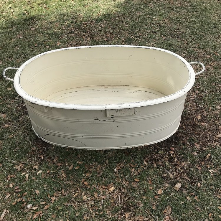 "Off White Beverage Tub   Off white metal tub with handles. 37"" long x 23.5"" wide x 12.5"" tall."