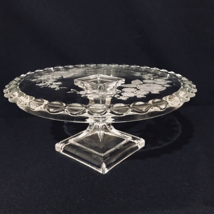 "Etched Floral Pedestal Cake Platter   Frosted etched flowers on a round cut glass pedestal plate. Square base. Perfect for a cake plate. 11.5"" round x 5"" tall."