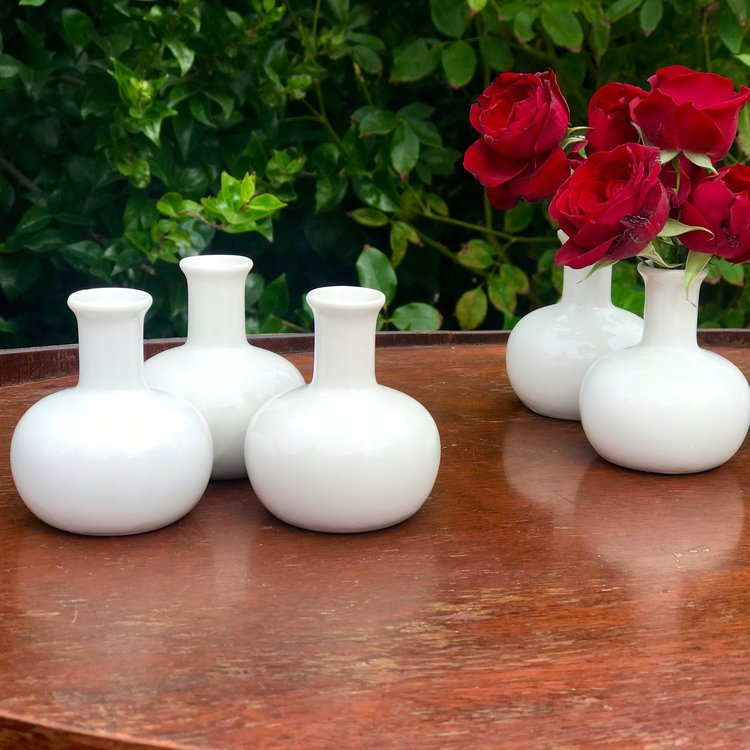 "Mini White Bud Vases   3"" tall. Great addition to a table. Perfect in groups."