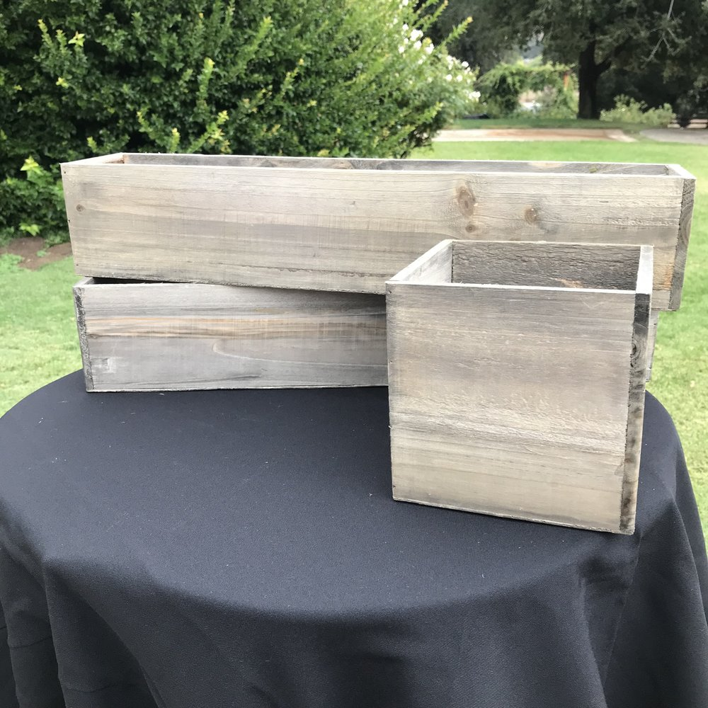 Wooden Floral Boxes   Perfect for centerpieces, especially on a farm table.