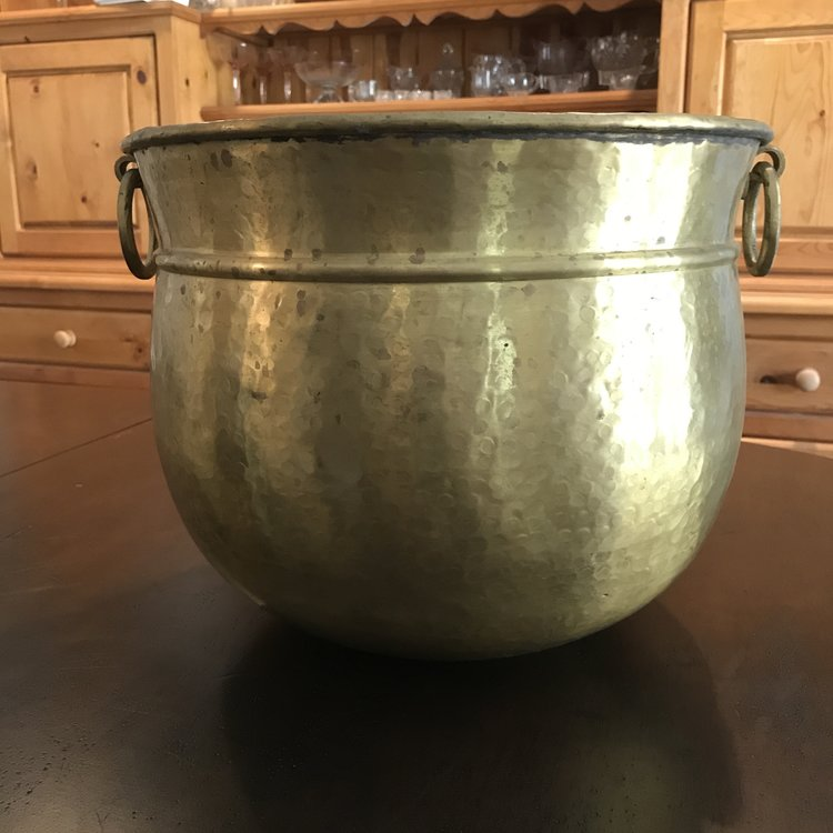 "Solid Brass Container   Bohemian hammered solid brass urn style vessel with two round handles and a rolled band. 15"" round x 12"" high"
