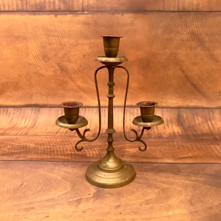 "Medium Brass Candelabra   10"" tall."
