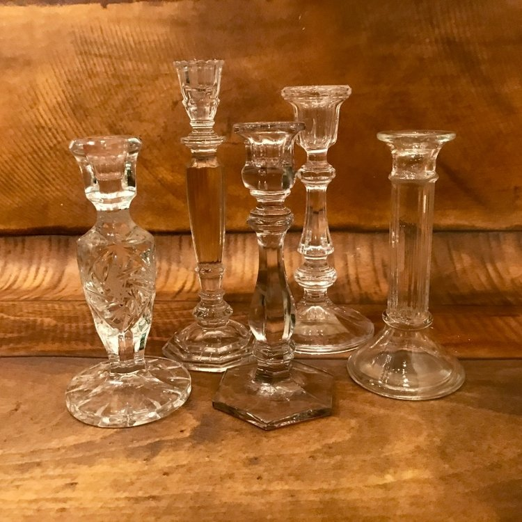 "Tall Crystal Candlestick   8""-9"" tall. Mismatched"