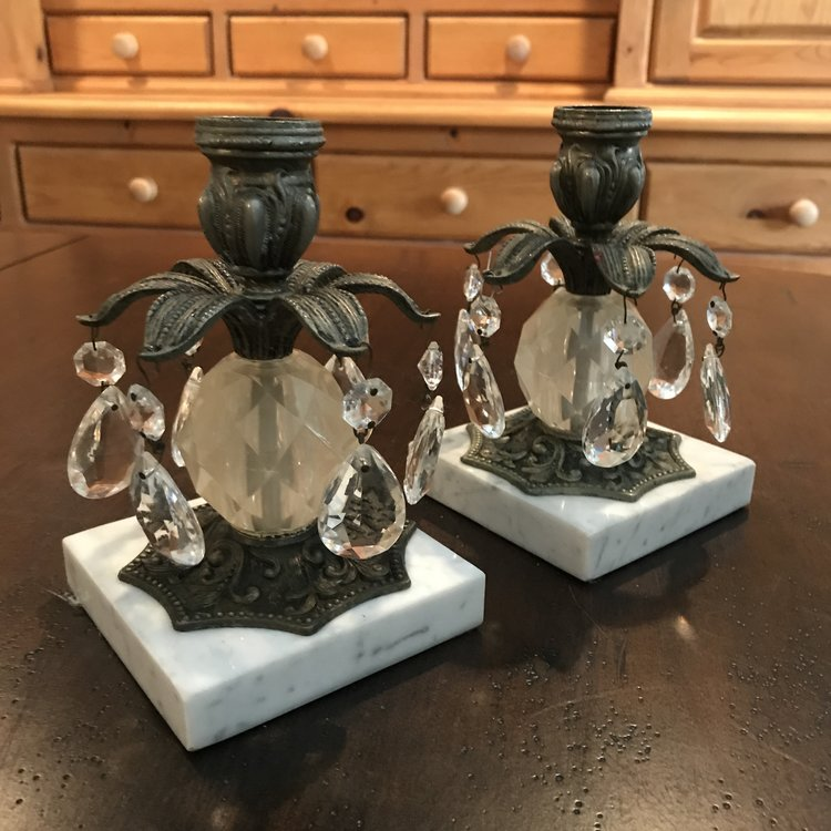 "Marble Crystal Candlesticks   Metal floral candleholder. 6"" tall x 4"" square marble base."