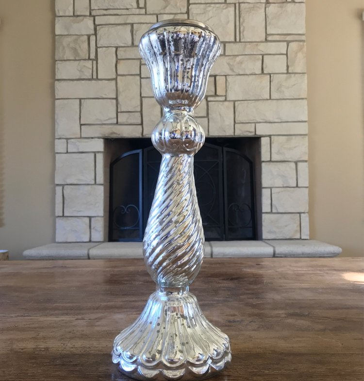 "Large Mercury Glass Candlesticks   Silver Mercury Glass candlesticks ranging from 15.5"" to 18.5"""