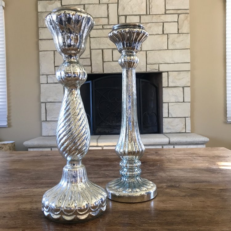 "Extra Large Mercury Glass Candlesticks   Silver Mercury glass candlesticks 21.5"""