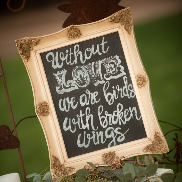 Without Love Sign   Vintage frame with chalkboard center. Hand painted.