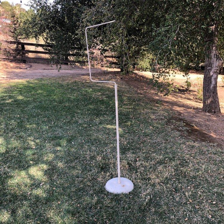 "Hook Birdcage Stand   Vintage iron single hook birdcage stand. Perfect for our vintage birdcages. 63"" tall."