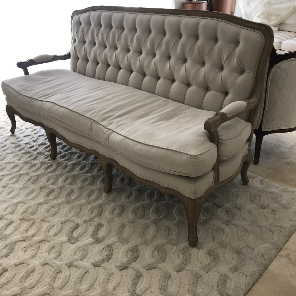 "Harvey   Natural linen, tufted back couch with a French Lime oak wooden frame with padded Bergere arms. 74"" long x 22"" wide x 37.5"" tall."