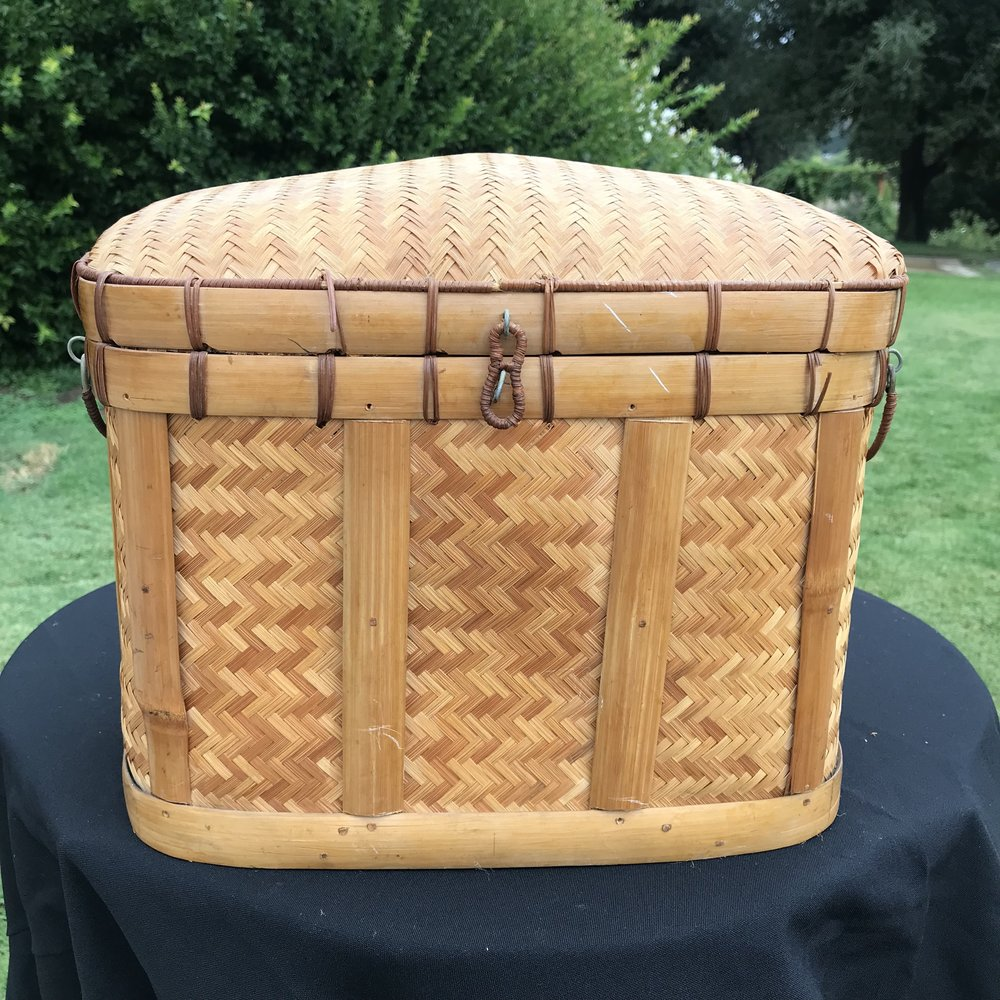 Small Wicker trunk like basket. Great for card box at a wedding.