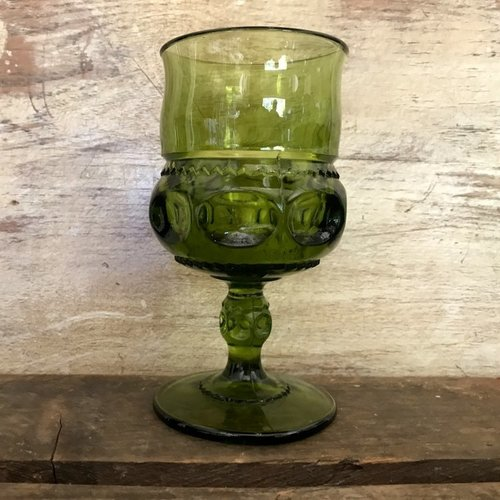 Olive Goblets   Mismatched.  Very Mid-Century Modern.