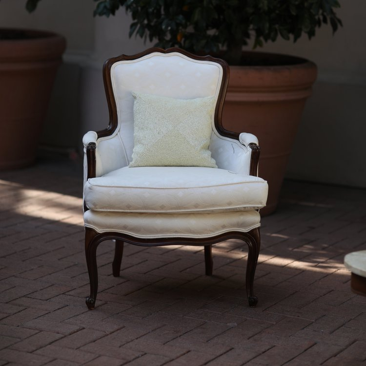 """Hannah  Cream, Bergere chair with padded detail on the arms. She's cute as a button. Matching fabric with Natalie and Camila. Seat 25""""x19"""". 34""""tall."""