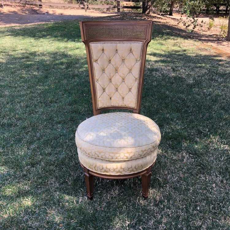 """Tiffany   Mid-century modern, gold patterned fabric, vanity chair. Tufted back. Seat height 17"""". Overall measurements 40"""" tall x 19"""" wide."""