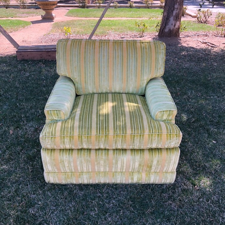 """The Cleavers  We have the whole family, two comfy mid-century overstuffed chairs. Green and gold stripped fabric and a matching Ottoman. Chairs: 33"""" wide x 29"""" high. Ottoman 26"""" x 24"""" x 13"""" high"""