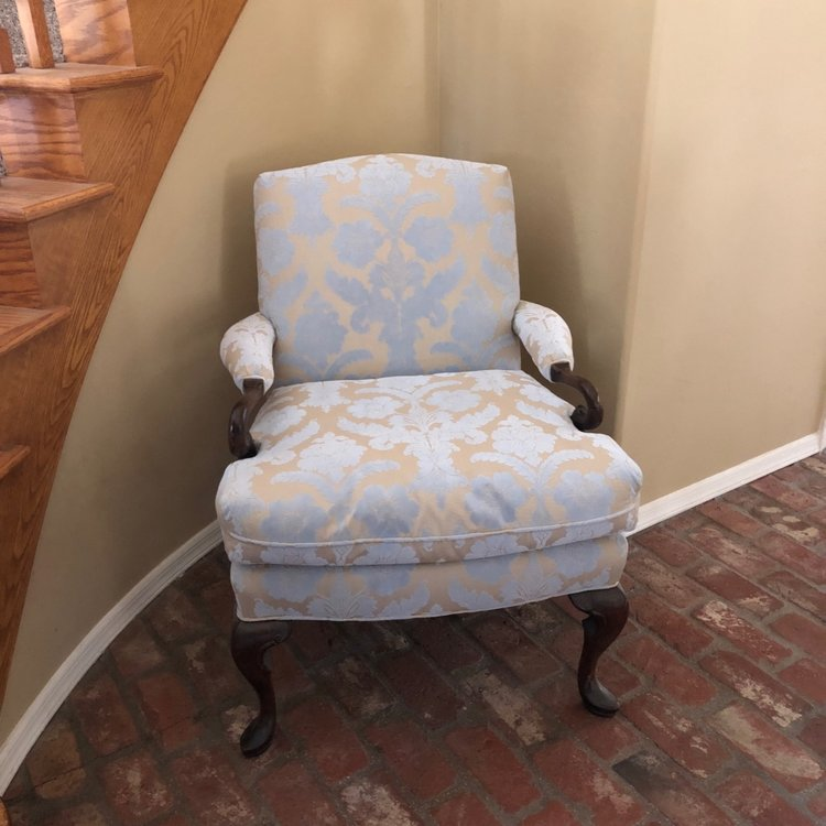 "Priscilla   Powder blue and taupe Damask fabric chair with a dark walnut swirled leg. 37"" high x 29"" wide x 21"" deep."