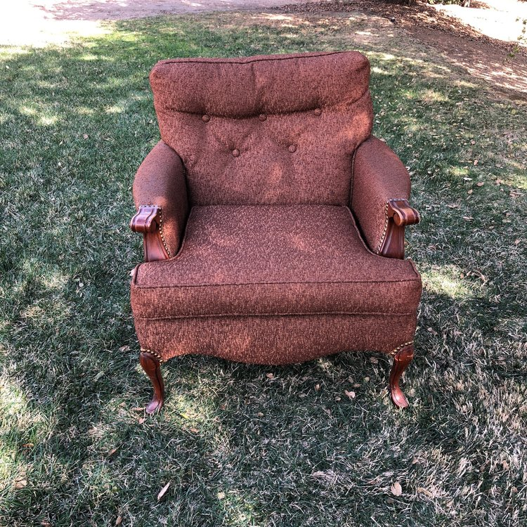 """Jasper   Mid-century Modern brown nubby fabric with a tufted back and nailhead trim. 32"""" wide x 31"""" high x 38"""" deep. Seat is at 16"""" high"""