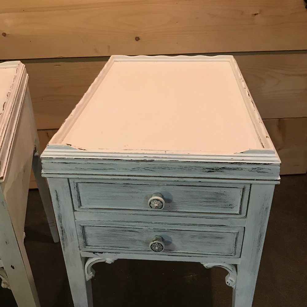 Distressed white chalk painted vintage side tables for rent.