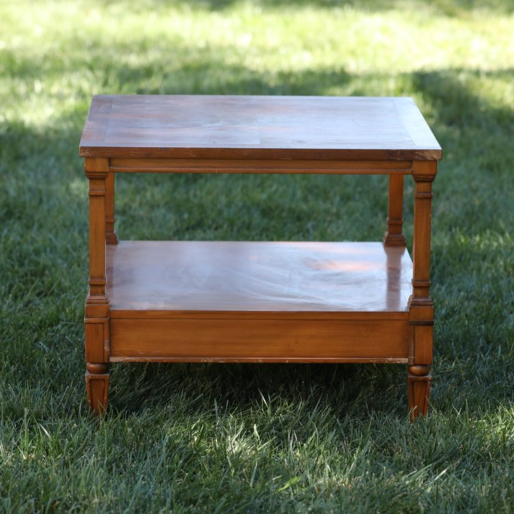 Maude   Mid-century Modern rectangle accent table with a bottom shelf. Decorative spindle sides