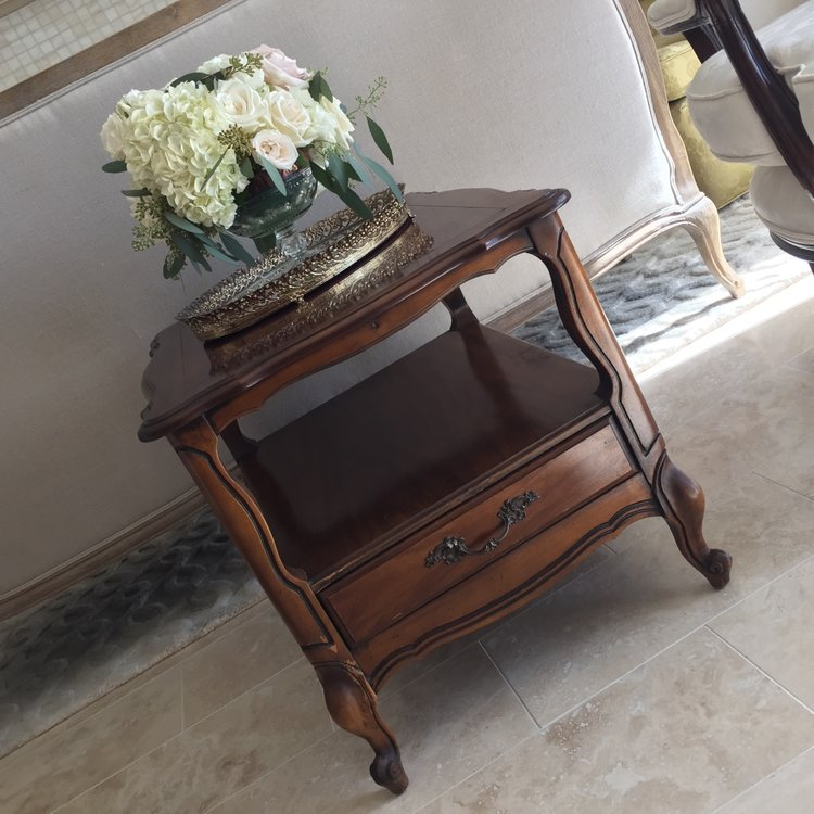 "Christian   Side table with one shelf and drawer. 27"" x 21"" rectangle. 21"" high. Shelf at 12""."