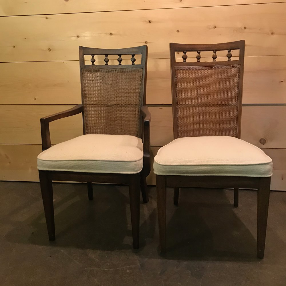 "Lucy and Ricky   Mid-Century Modern cane backed chair. Off white padded seats. Two with arms, two without. 38"" tall x 21"" wide."