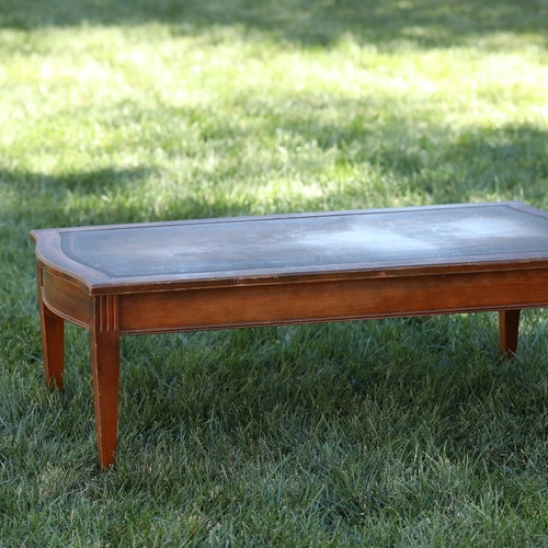 """Grayson   Mid Century Modern, wooden, leather sculpted top, coffee table with cute metal feet. 44"""" x 21"""" rectangle by 16"""" high."""