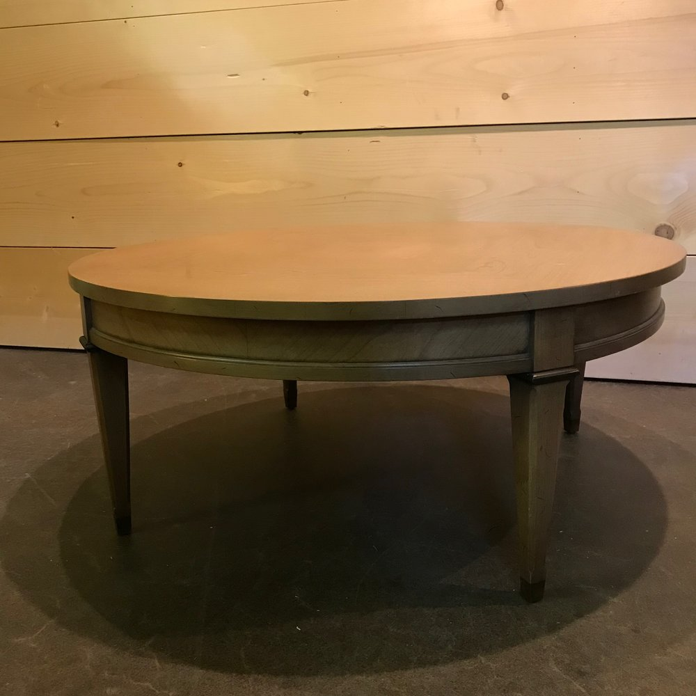 """Sonny  Mid Century Modern round coffee table with detailed legs. 15"""" high x 35"""" round."""