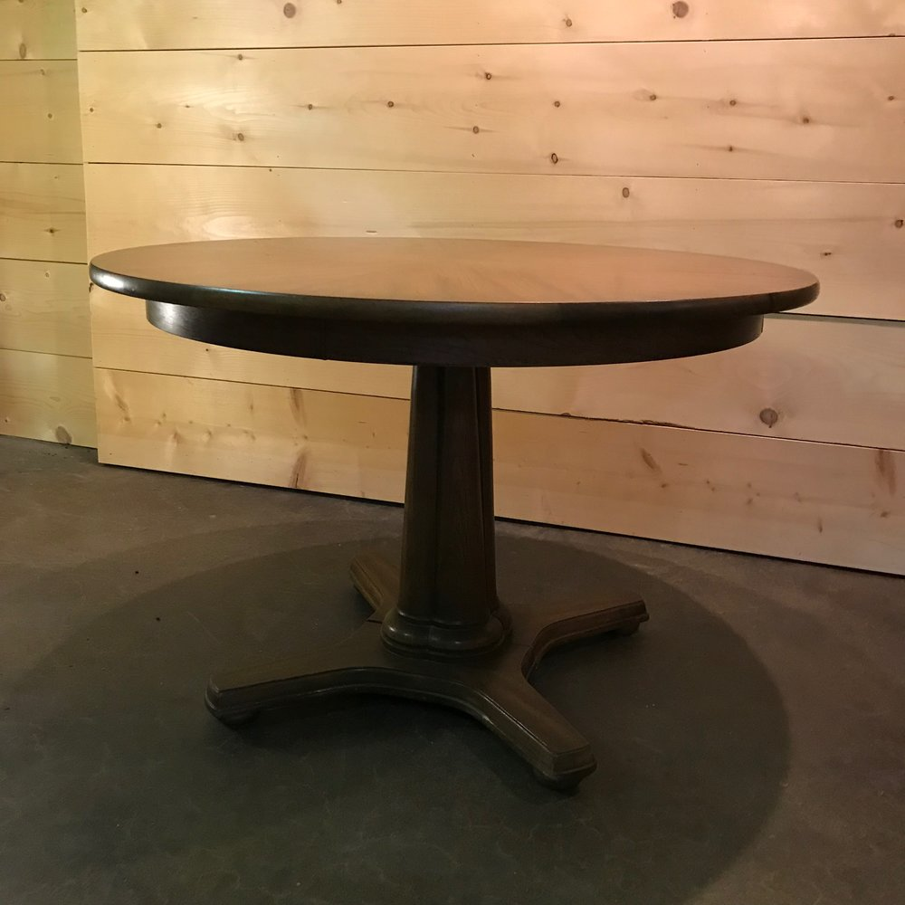 "Chester   Round Mid-Century Modern dining table. Two leaves available. 29"" tall x 44"" round."