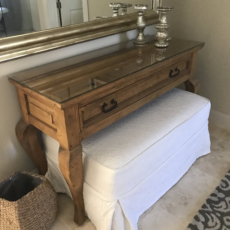 "Emory   English pine table with one large drawer and cabriolet legs. Comes with a glass top. Perfect for a sweetheart table. 49.5"" long x 18"" wide x 32"" high."