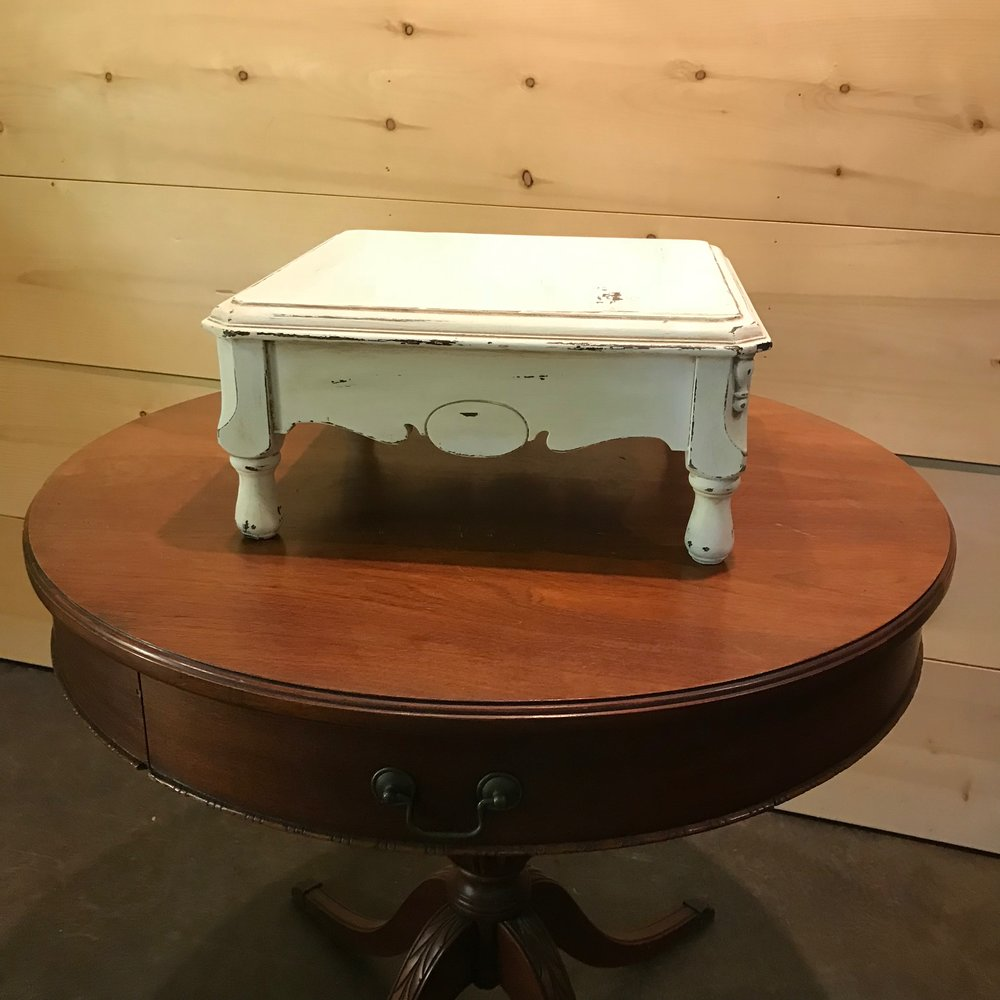 "Wooden Cake Stand   Shabby Chic white chalk painted wooden cake stand.  16"" square x 7"" high."
