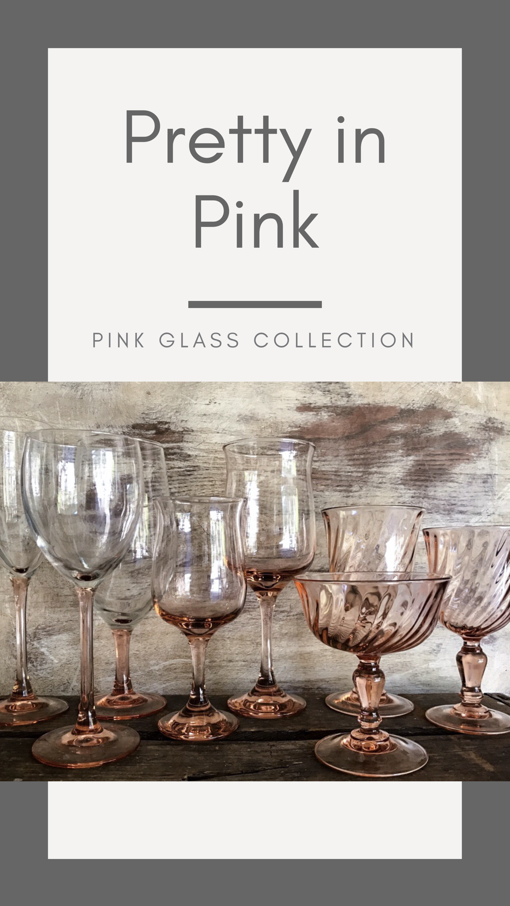 A collection of vintage pink goblets and glasses can enhance any wedding table or reception. These can be rented from Birdie in a Barn in the Temecula Valley.