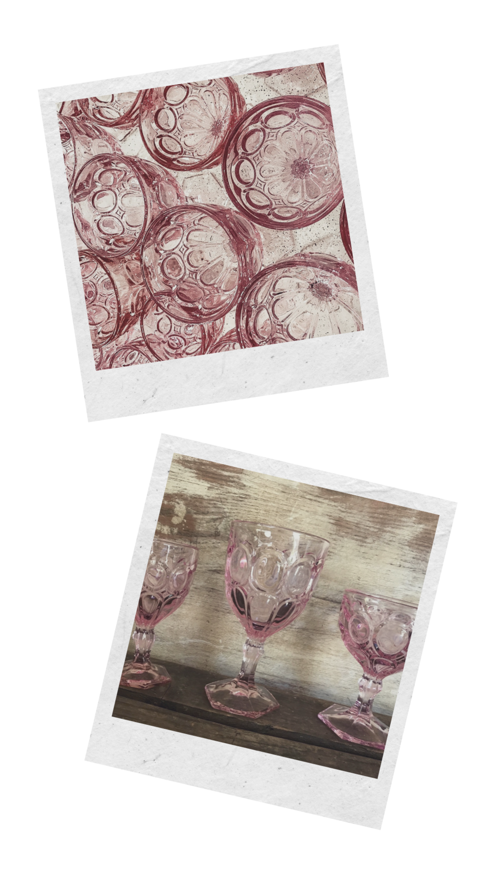 Colorful Fostoria Moonstone pink glass goblets for rent for table top design for weddings and parties in the Temecula Valley.