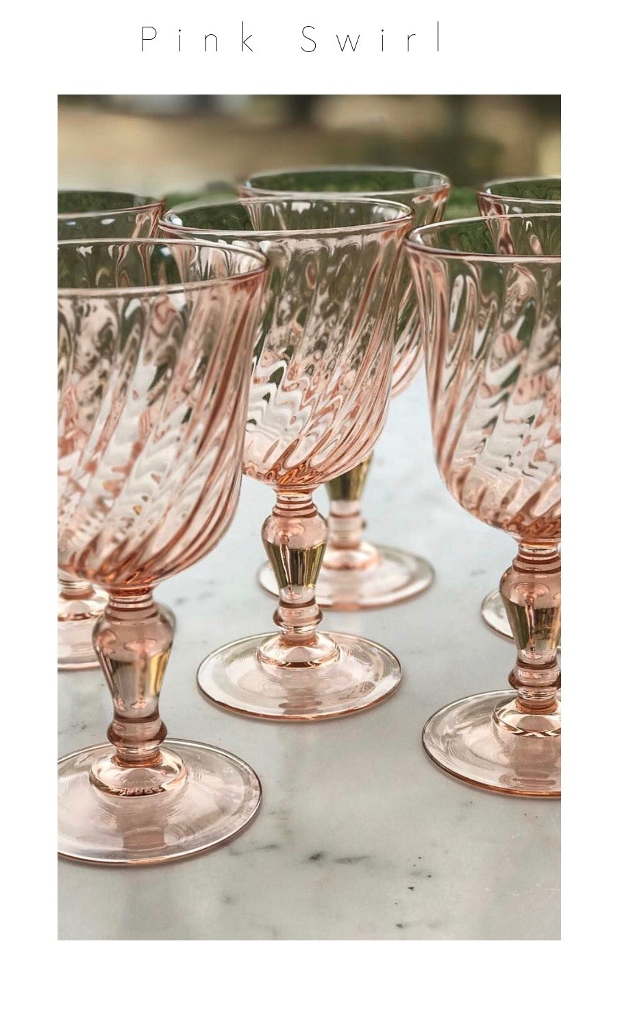 Arcoroc France Pink Swirl Goblets. Vintage tableware rentals for weddings and parties.