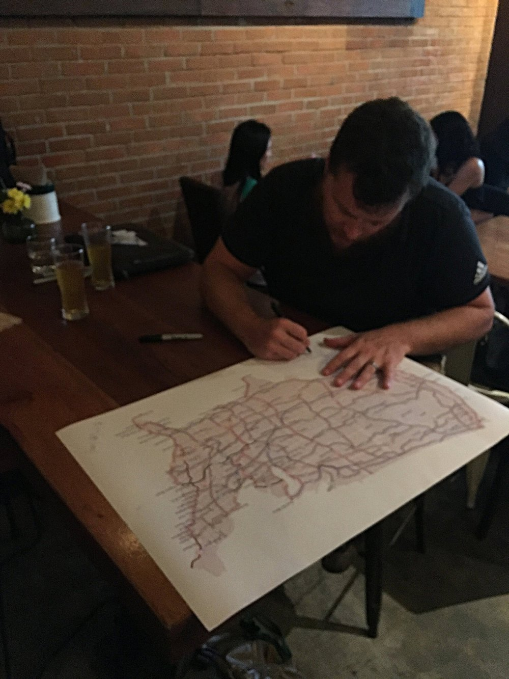 Using the United States Bicycle Route System (USBRS) Map to plan our routes over established bicycle trails.
