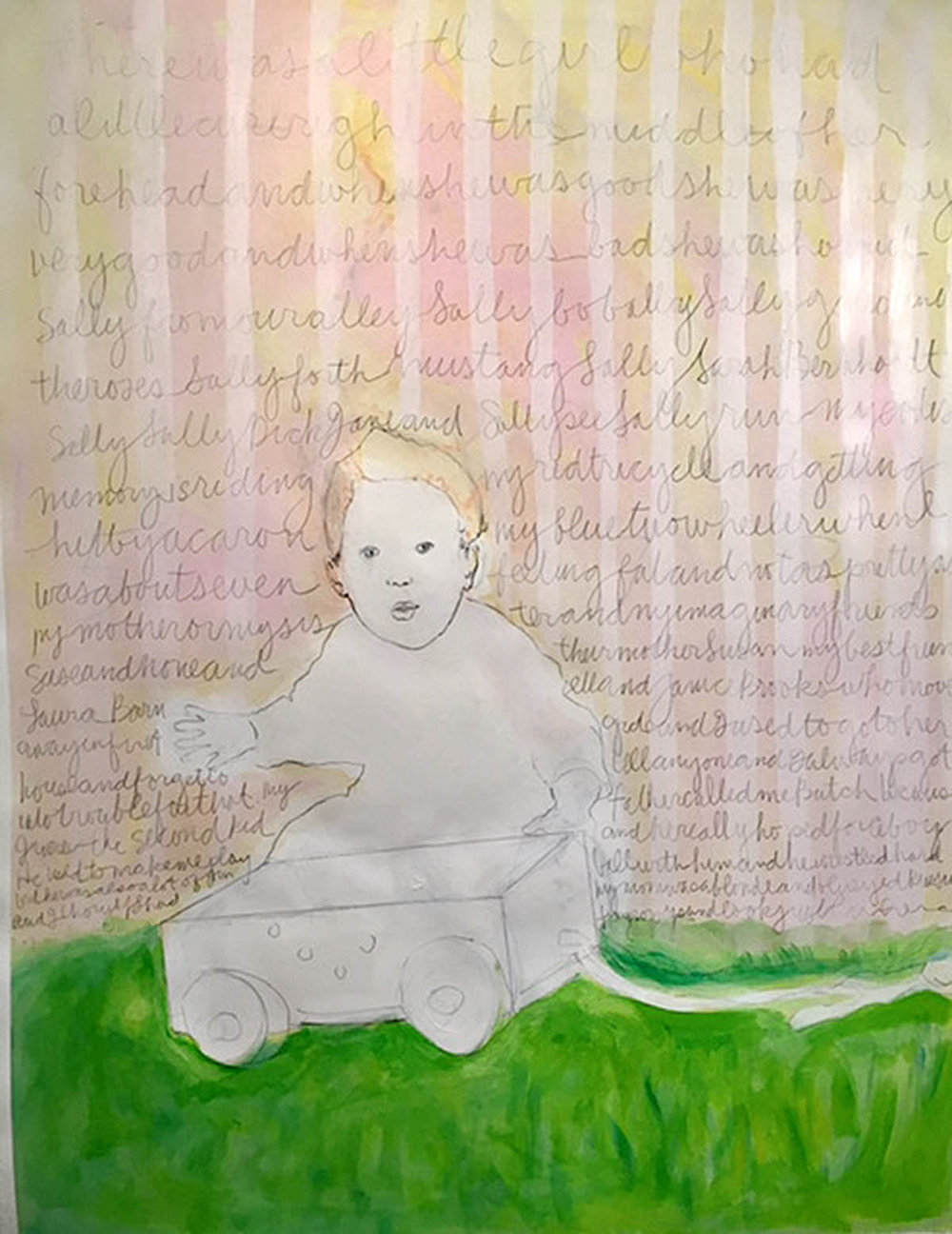 There Was A Little Girl 2016  Acrylic and graphite on paper