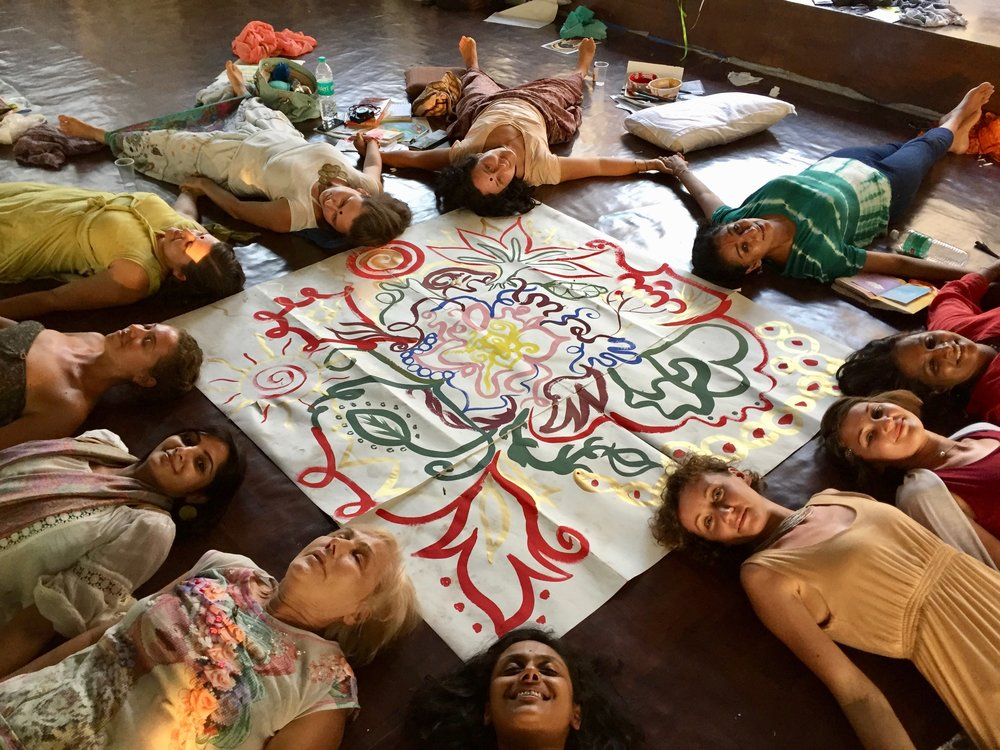 Closing Ritual-Group Painting- 2017  The Unfolding Lotus  Goa, India