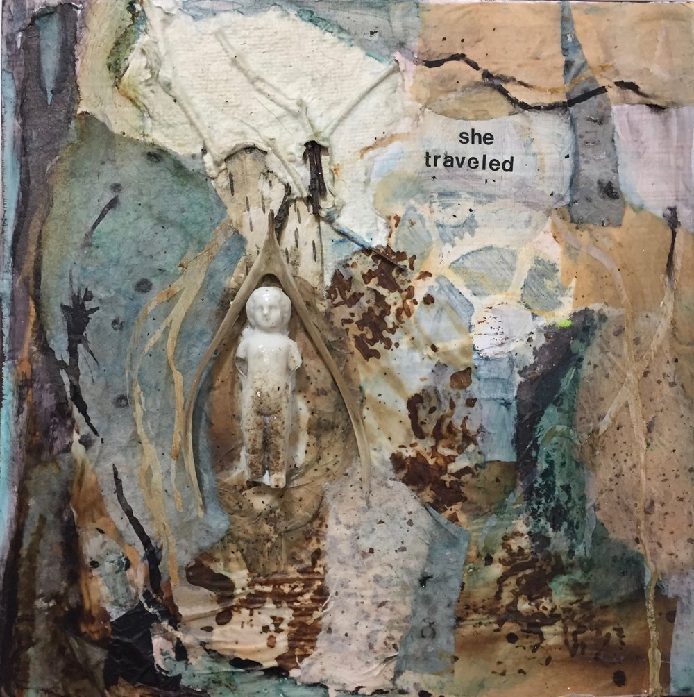 She Traveled 2016   MIxed Media on Board  #3 of 3
