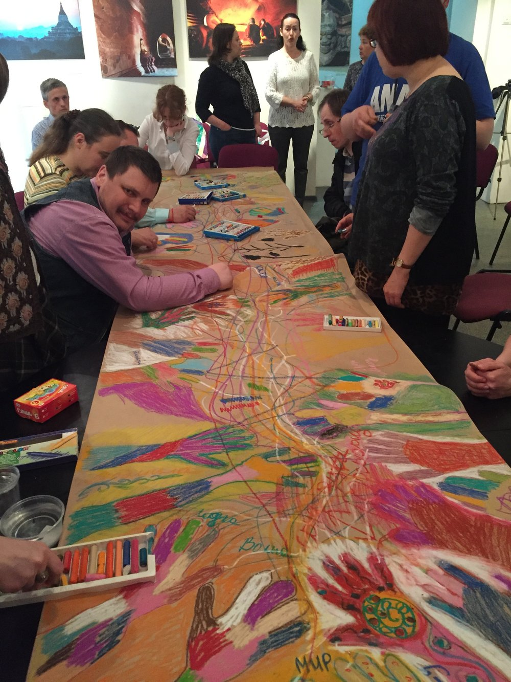 Hand Mural- with Special Needs Adults 2016  Moscow