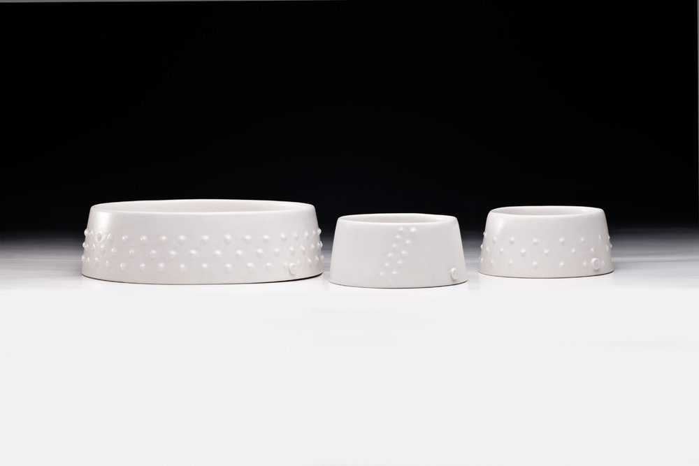 Jane Bamford 2017 Large and small (full banded and single band) Urchin  Bowl Stoneware, White Satin Glaze 240mm x 67mm and 132mm x 58mm .jpg