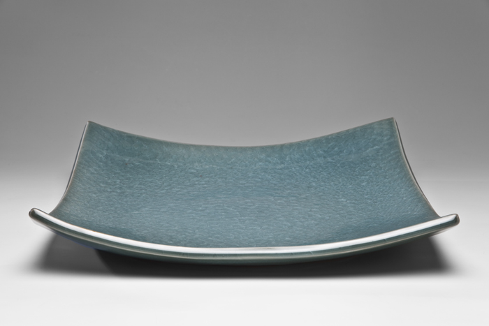 Deep Green Celedon Platter, 2013, Porcelain, 36 x 36cm. Photo credit Uffe Schultze