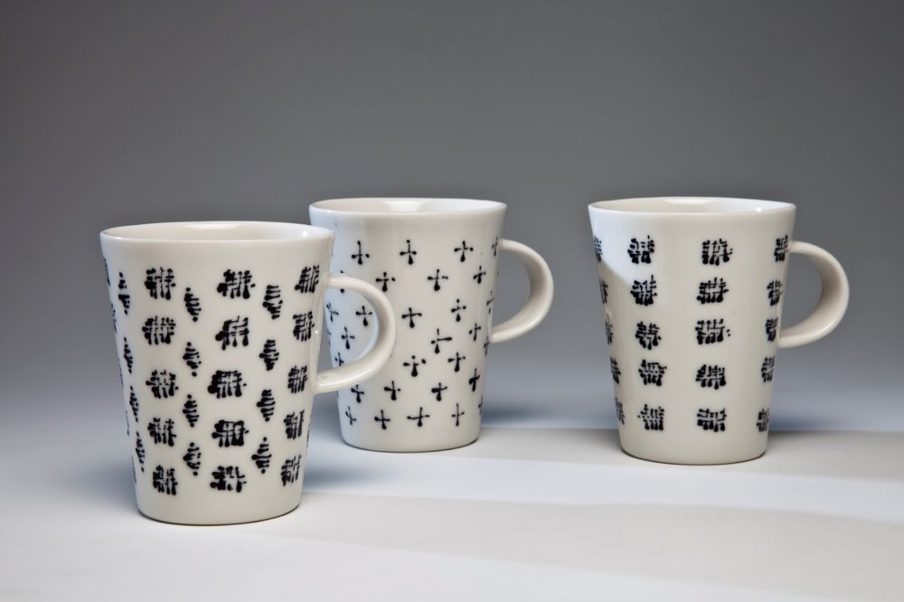 Porcelain cups netting design, 2013, Limoges porcelain, 9cm high. Photo credit Uffe Schultze