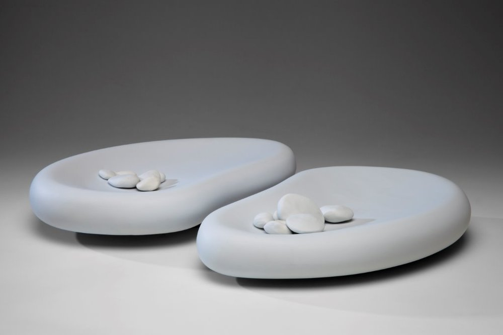Rock Pool vessels with white pebbles, 2013, Limoges porcelain, 46 x 34cm. Photo credit Uffe Schultze
