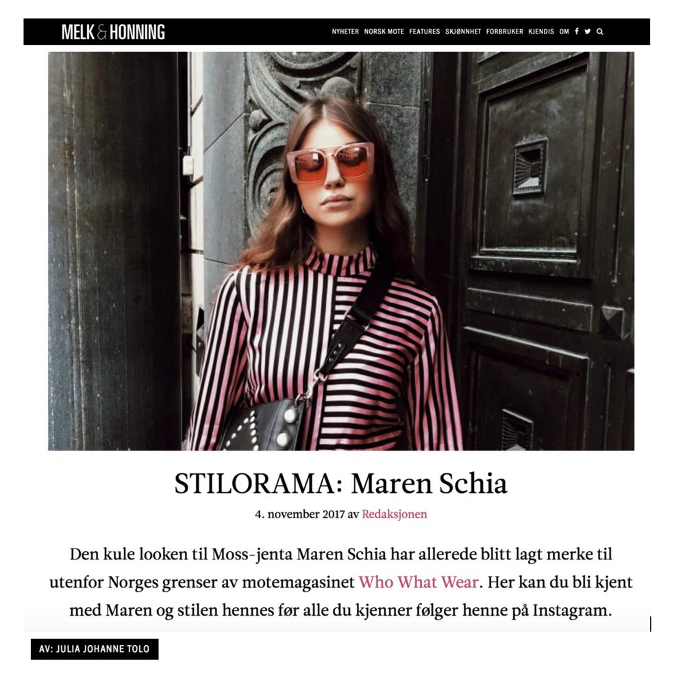 """Melk & Honning """"STILORAMA: Maren Schia"""" av Julia Johanne Tolo"""