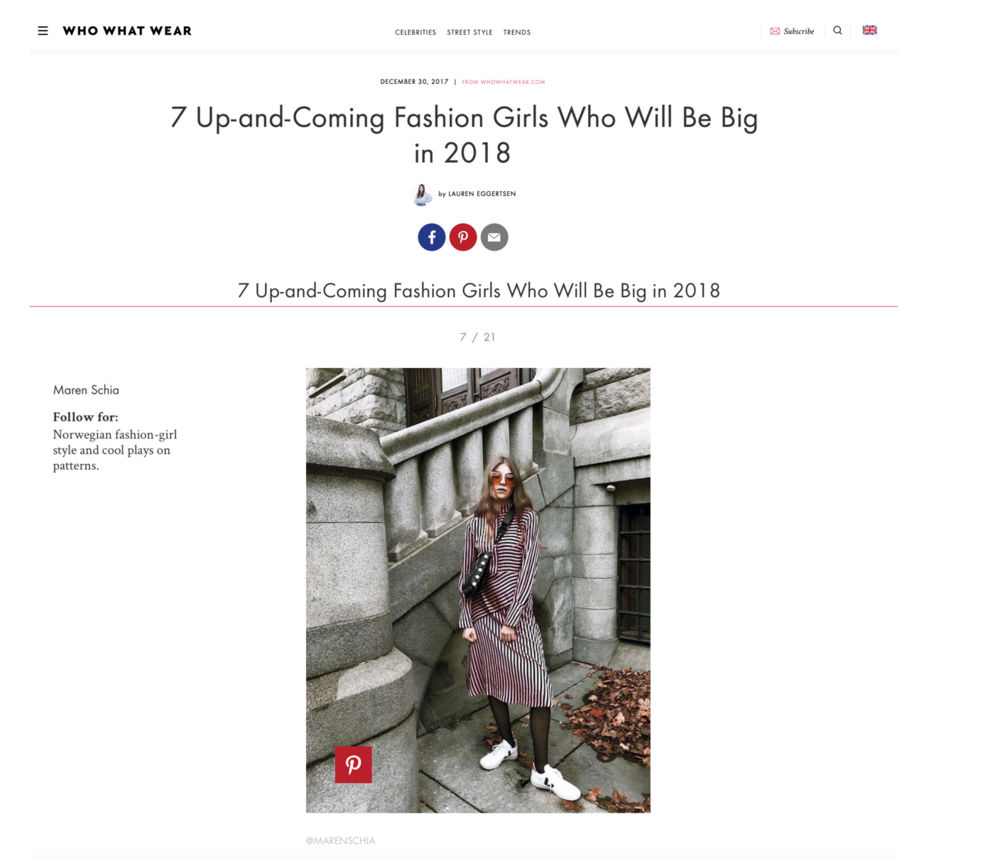 "Who What Wear ""7 Up-and-Coming Fashion Girls Who Will Be Big in 2018"" by Lauren Eggertsen"