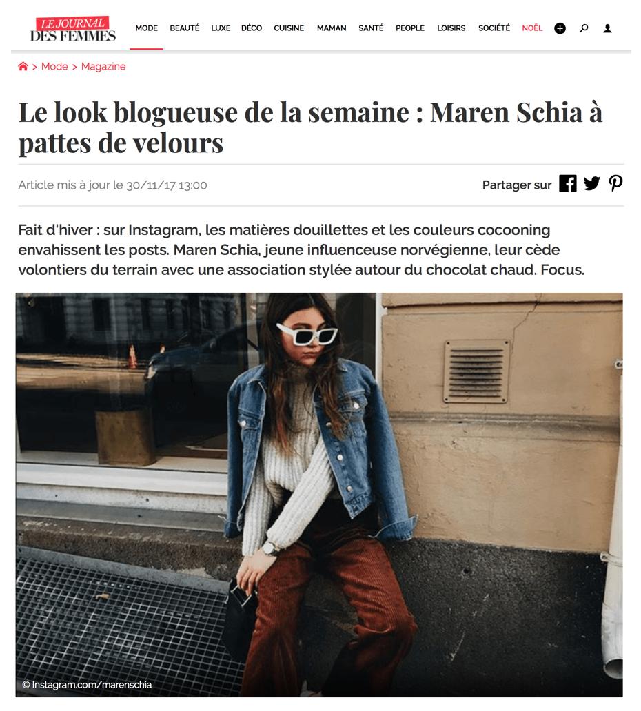 """Le Journal Des Femmes """"Le look blogueuse de la semaine: Maren Schia à pattes de velours"""" by Mitia Bernetel"""