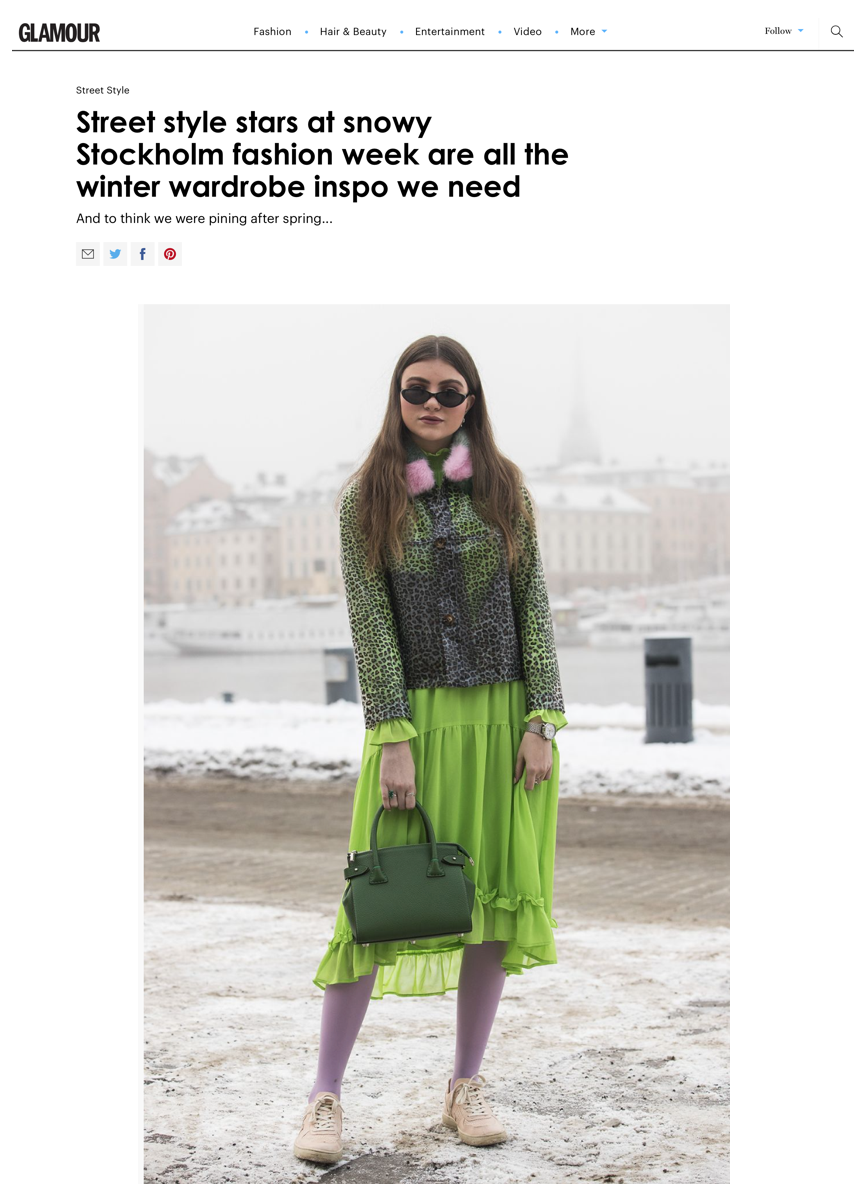 "Glamour Magazine UK ""Steet Style starts at snowy Stockholm fashion week are all the winter wardrobe inso we need"" by Charlie Teather. Photo by Getty Images"
