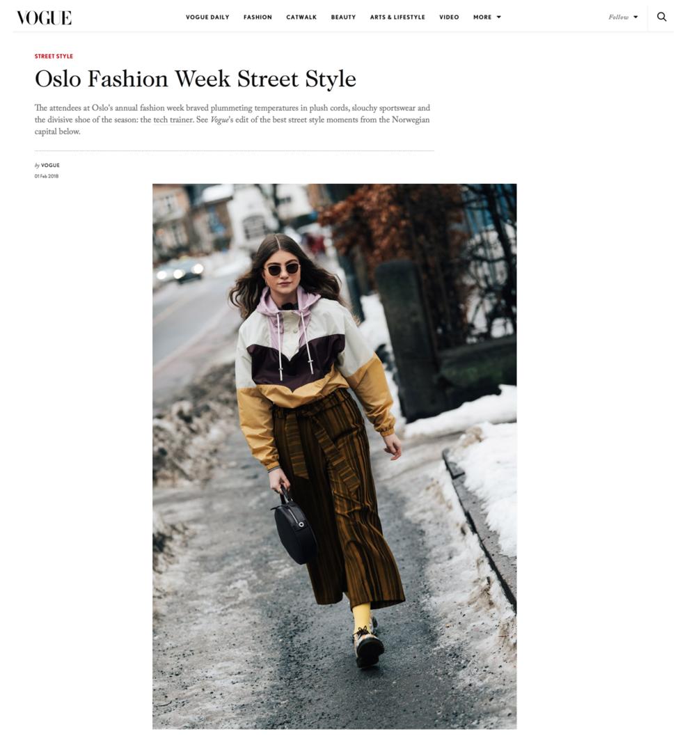 """British Vouge """"Oslo Fashion Week Street Style"""" Photo by Søren Jepsen/ The Locals"""