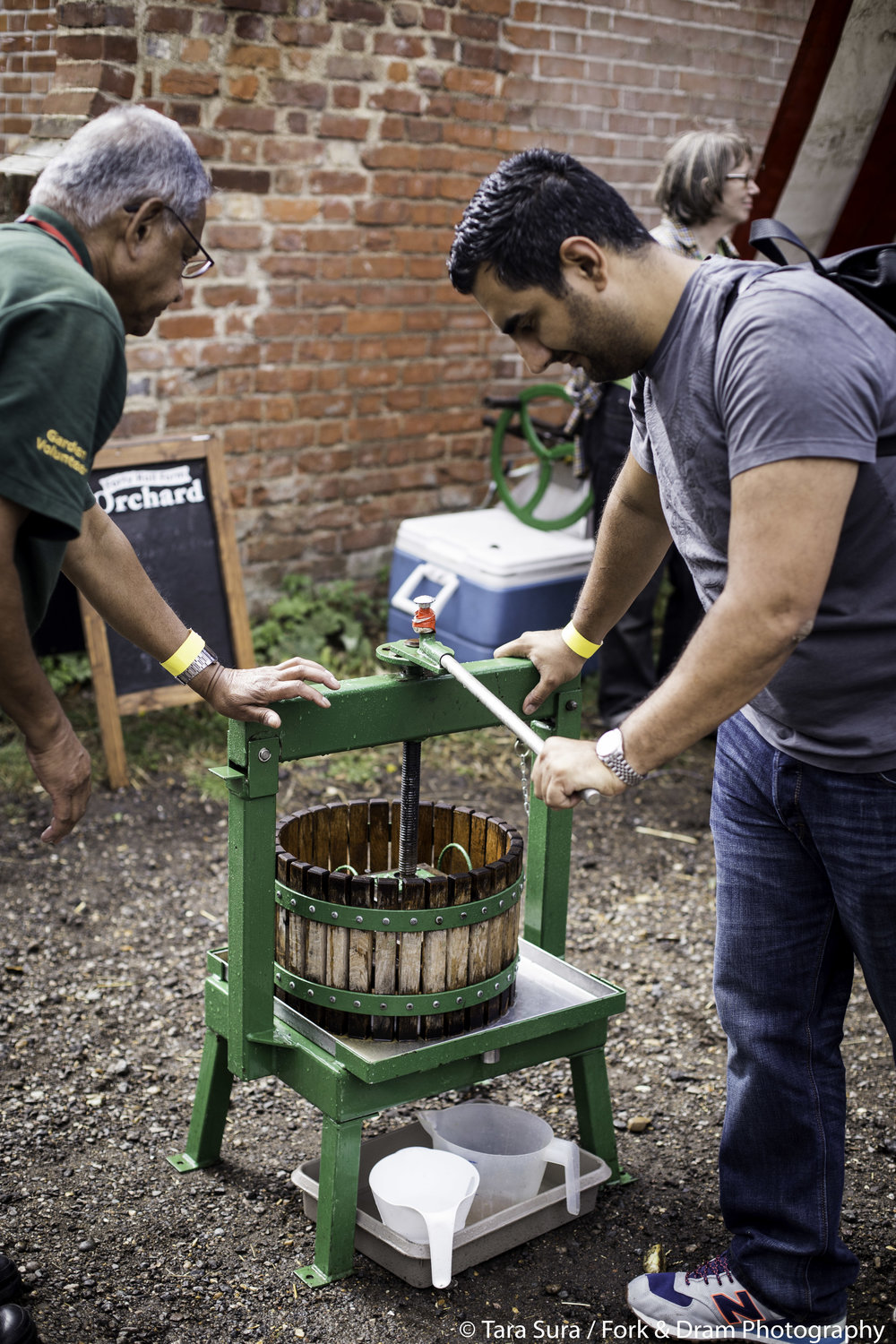 Photo: Tara Sura Fork and Dram Forty Hall Farm Orchard Apple Pressing